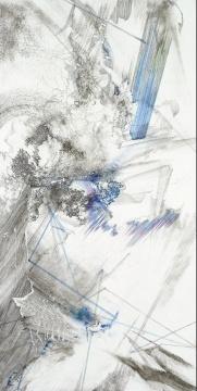 熊辉&韦邦雨《Same Line Twice 18》70 x 138 cm 纸本颜料、墨、圆珠笔 2019图片来源:艺术家熊辉&韦邦雨Same Line Twice 18, 2019纸本颜料、墨、圆珠笔,70 x 138 cm图片来源:艺术家