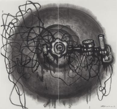 《呼/吸之三》 198×180cm 纸本水墨 2019