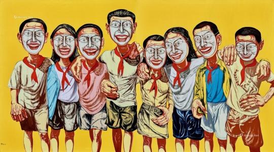 曾梵志 《面具系列 1996 No. 6》 199×358.6cm 油彩 画布 1996