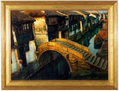 Lot838 陈逸飞 《金桥(苏州)》 76 × 107 cm 布面油画 1980年代 RMB ¥ 3,200,000 - 5,200,000