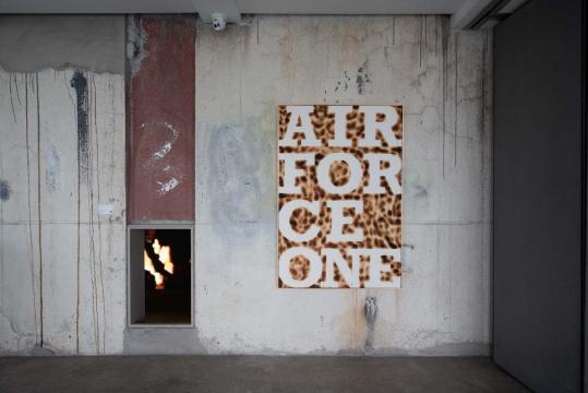 孙存明 《空军一号 AIR FORCE ONE》 147×99.6×5 cm水彩纸、蜂蜜、火,铝合金装裱 2020