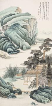 张大千《仿吴渔山凤阿山房图》镜框 设色纸本 96.5×47.5cm 1947年作