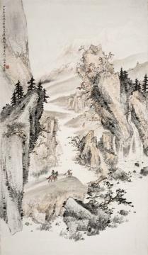 关山月《祁连风情》镜框 设色纸本 189×111cm