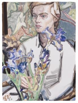 《鸢尾花和克拉拉,商业街》 木板油彩 61.5 × 46 cm 2012
