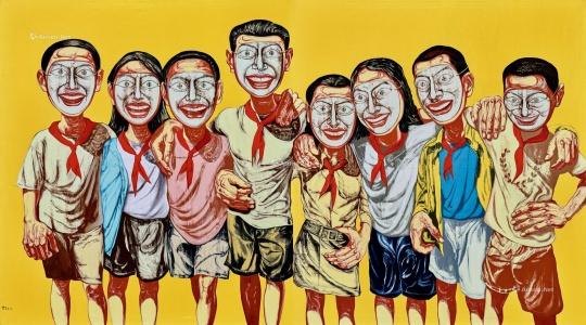 曾梵志《面具系列 1996 No. 6》 199×358.6cm 油彩画布 1996 成交价:1.61亿元,刷新艺术家个人拍卖纪录 拍前估价待询,2020北京永乐夏拍