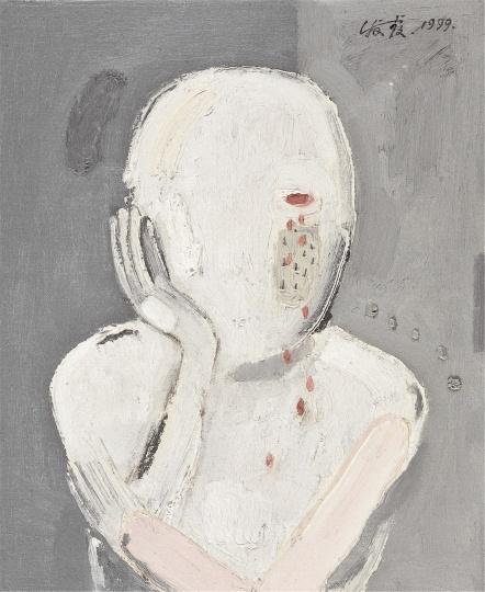 陈淑霞《哭泣1999》31×25.5cm布面油画1999