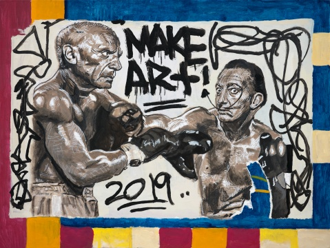 《Picasso&Dali》 75 x 100 cm 布面丙烯 2019