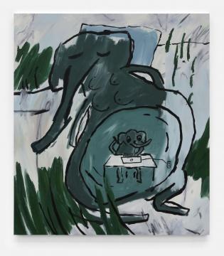 约书亚·纳塔森 《The pregnant Elephant》 175x155cm 布面油画 2020