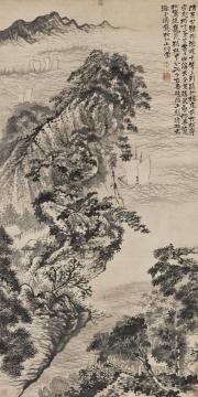 石涛 《谪仙楼山水》水墨纸本 立轴 188×93cm