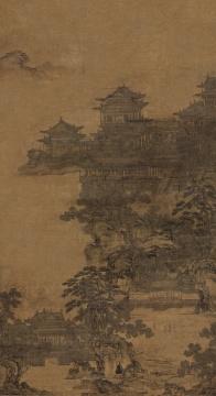 李容瑾《汉宫秋苑图》水墨绢本 立轴 101.5×54.5cm