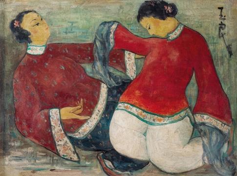 潘玉良《袖舞》布面油画 38×50.5cm 1954