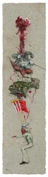 《四平大马》200×50㎝ 纸本色粉 2014
