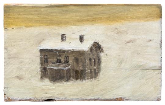 《房子》15.6×9.8cm 木头上铅笔与油画 2004