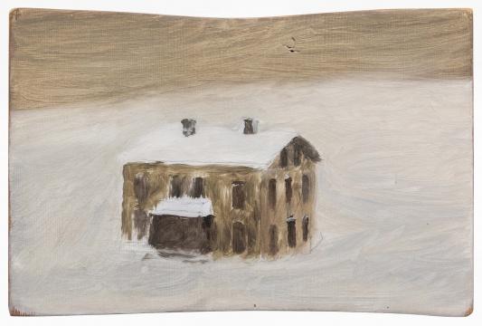《房子》23×15.5cm木头上铅笔与油画2004