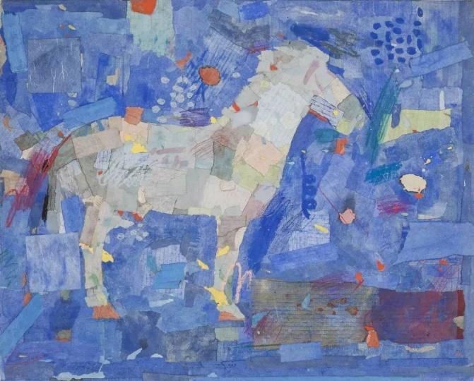 梁铨 《白马非马》 55.5×69cm 色、墨、宣纸拼贴 1991