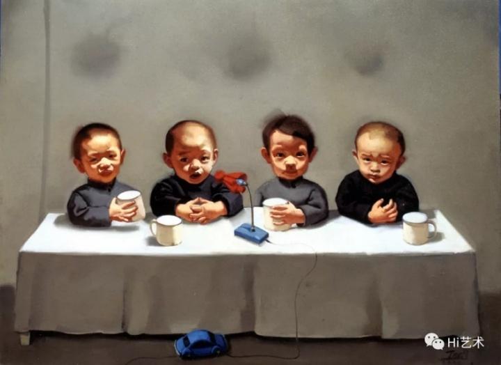 唐志冈 《儿童会议系列-红话筒》 114×145cm 布面油画 2000
