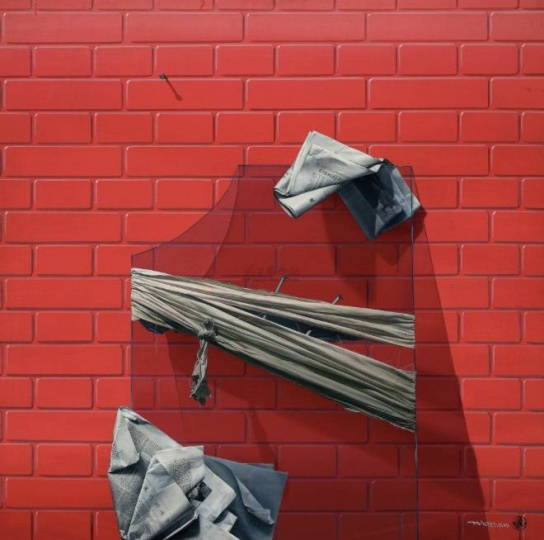 陈文骥《一块靠在墙上的玻璃》 100x100cm布面油画1990年