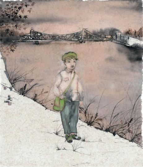 刘庆和 《青春的海河畔》 65x55cm 纸本水墨 2014