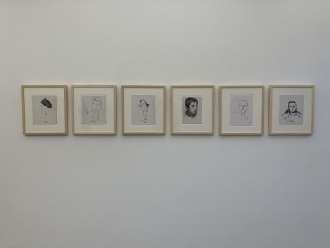 刘锋植对妹妹、自己、妻子、儿子、母亲、父亲的素描手稿