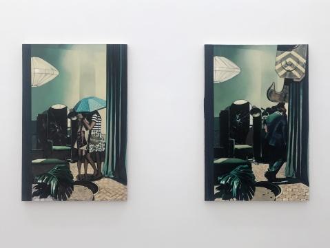 左 《展厅--1》 150 x 100cm 布面油画 2020 右 《展厅--2》150 x 100cm 布面油画 2020