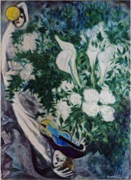 马克·夏加尔《月亮花束或白色海芋》100x73.4cm 综合材料绘画,油彩、水粉、布面 1946