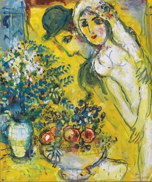 马克·夏加尔《黄色背景上的恋人》59.7x49.3cm 综合材料绘画 油彩、水粉、纸 1960