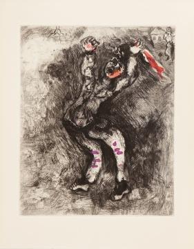马克·夏加尔《拉·封丹寓言 - 出卖智慧的傻子》29x23.8cm 手工彩色蚀刻 1927-30-52