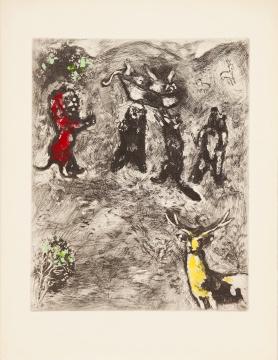 马克·夏加尔《 拉·封丹寓言 - 母狮的葬礼》29.5x23.5 cm 手工彩色蚀刻927-30-52