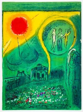 马克·夏加尔《卢浮宫卡鲁塞尔厅》28×38cm 石版印刷 1954