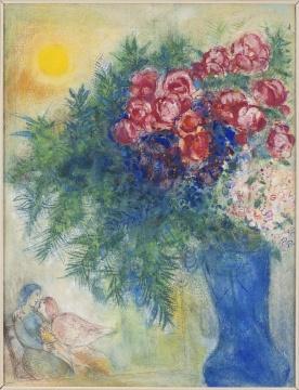 马克·夏加尔《恋人与花束》66×52cm 综合材料绘画,水彩、水粉、铅笔、纸 1935-1938