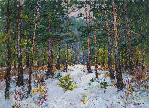 《雪地上的樟松》,布面油画,来自索卡艺术