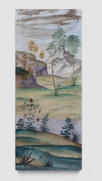 《风景画像-卢伊尼 01》 画182x75x8cm 、雕塑185x78x8cm 石膏上水彩 2020