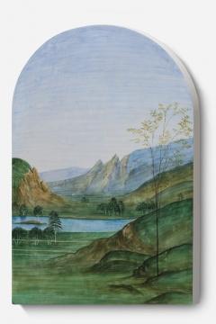 《风景画像-佩鲁吉诺 01 B》 画83.5x55x4cm 、雕塑85.5x56x4cm 石膏上水彩 2020