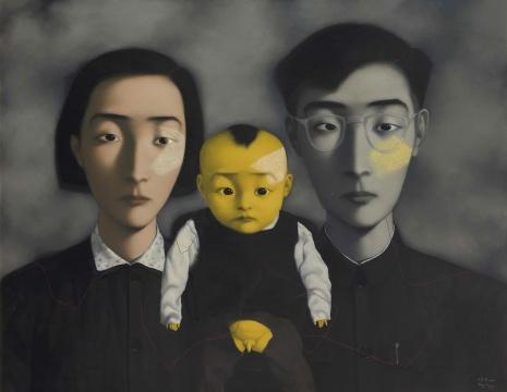 张晓刚 《血缘—大家庭 2 号》 180 x 230cm 油画 画布 1995 港元 38,000,000 - 48,000,000