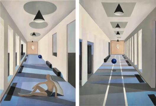 刘聪 《仿超现实的⻓廊》 49 × 67/68 cm 纸本水彩2020