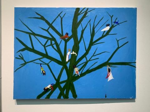 《周葵的葵—树上的毛毛》80×60cm布面丙稀2019