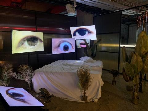 词穷公园《修普诺斯(Hypnos)》 尺寸可变 液晶显示器、投影仪、床、沙子、植物 2020