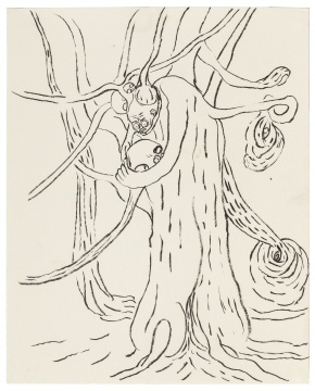 仇晓飞《托洛茨基基树》 36×51cm 纸上水彩、墨与铅笔 2019