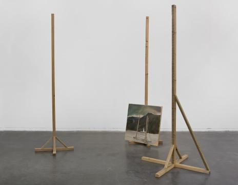 仇晓飞 《山前木后山》 木头、木板油画 不规则尺寸 2011