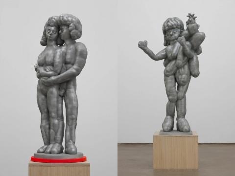 左:颜石林《关于共生的设想系列之一》32×27×78cm 铸铝 2020 右:颜石林《关于共生的设想系列之四》60×50×112cm 铸铝 2020