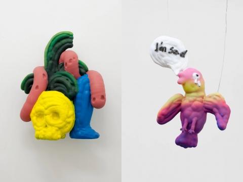 左:颜石林《一条休憩的虫子》50×30×68cm 铸铝、丙烯 2019 右:颜石林《一只伤心的鸟》52×27×79cm 铸铝、丙烯 2019