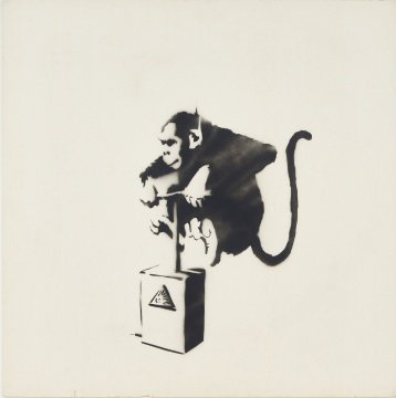 班克斯 《猴子雷管》 90.8 x 90.8 cm喷漆 卡纸 2002  估价:3,800,000 - 4,800,000 港元