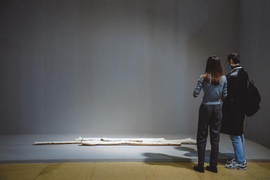 刘建华的《雾凇》用高温烧制的瓷为媒体再现霜雪堆积的树枝