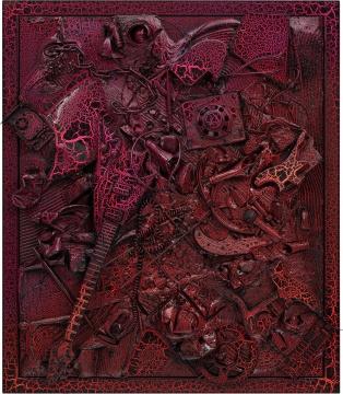 《无题(27376)》148×127×28 cm布面混合媒介、钢框、皱纹漆2008