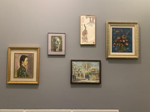 从左至右,从上至下:闵希文《人物》、沙耆《无题》、林达川《儿童乐园》、汪日章《无题》、李青萍《花瓶》