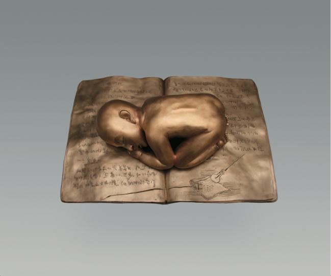 张晓刚《睡在书上的男孩》24.1x87x60cm 青铜雕塑 2008