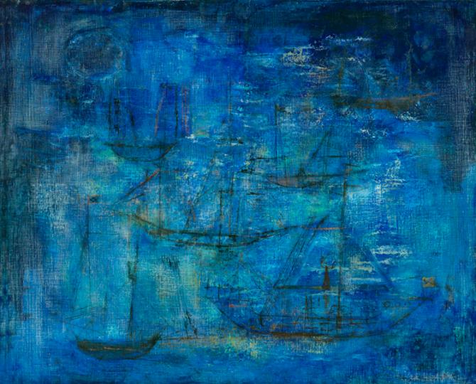 赵无极《蓝色夜航》 80×99cm 布面油画 1951,刘兰以1978万人民币的价格从2018嘉德秋拍竞得