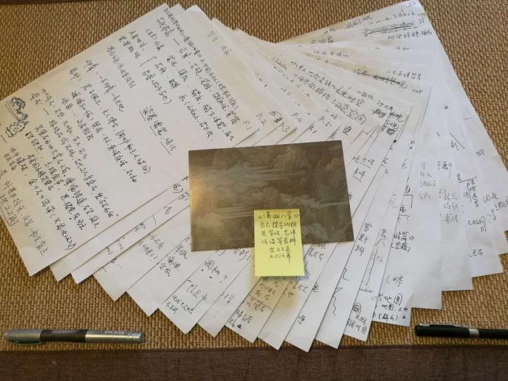 """陈阿姨自称是郝量的""""迷妹"""",2016年为了准备郝量个展""""潇湘八景""""的导览,她写了22页笔记"""