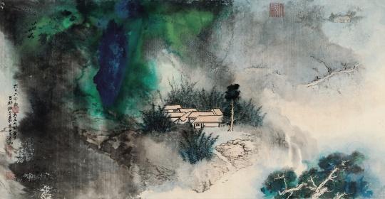 张大千 《竹林幽居》1977年作镜框 设色纸本 102×193cm 华艺国际(北京)2020秋季拍卖会拍品