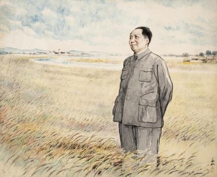 蒋兆和《伟人在麦田》镜框 设色纸57×70cm 华艺国际(北京)2020秋季拍卖会拍品